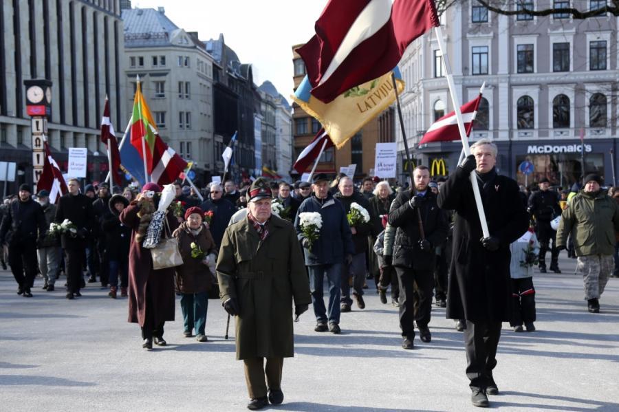 Шествие впамять легионеровСС вРиге 16марта 2018года.