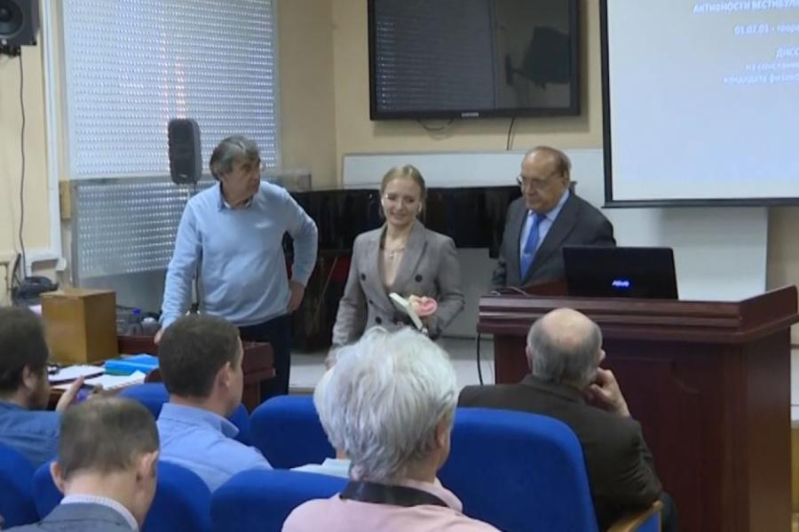 Катерина Тихонова на защите диссертации в МГУ.
