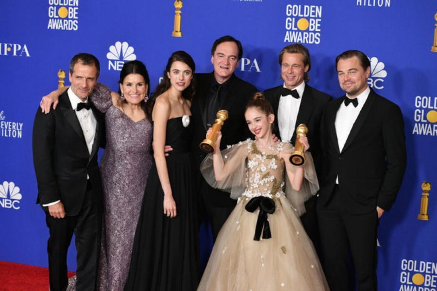 Квентин Тарантино и актеры фильма «Однажды... в Голливуде» на церемонии вручения премии «Золотой глобус»