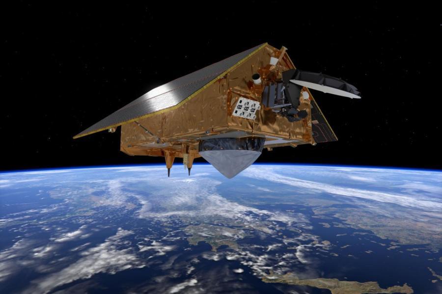Европейский спутник Sentinel-6, измеряющий уровень моря.