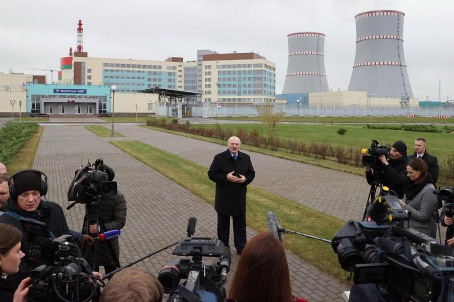 Президент Белоруссии Александр Лукашенко открывает БелАЭС.