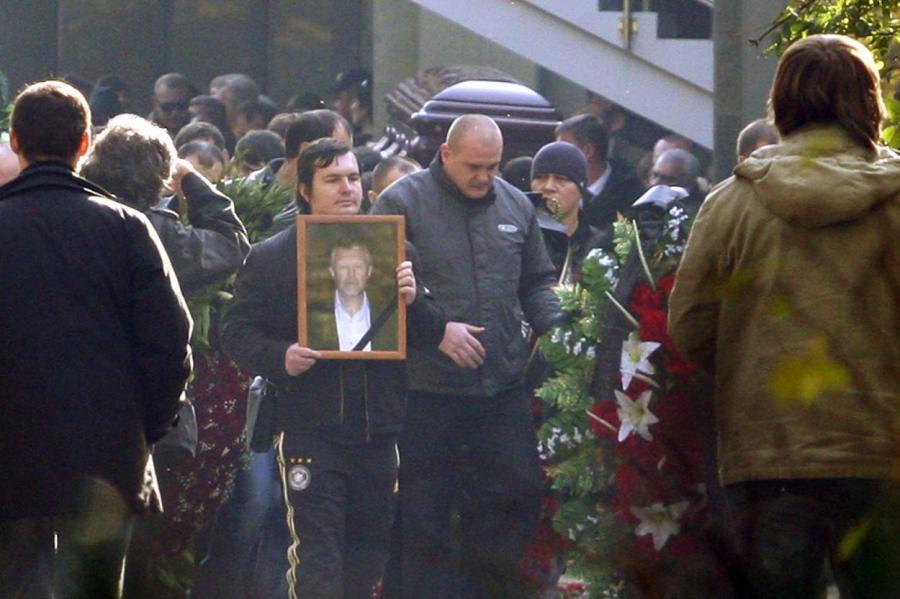 Похороны Япончика на Ваганьковском кладбище в Москве.