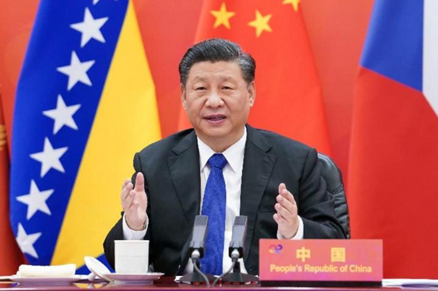 9 февраля 2021 года, председатель КНР Си Цзиньпин выступает с программной речью на саммите Китая и стран Центральной и Восточной Европы. /Фото: Синьхуа/
