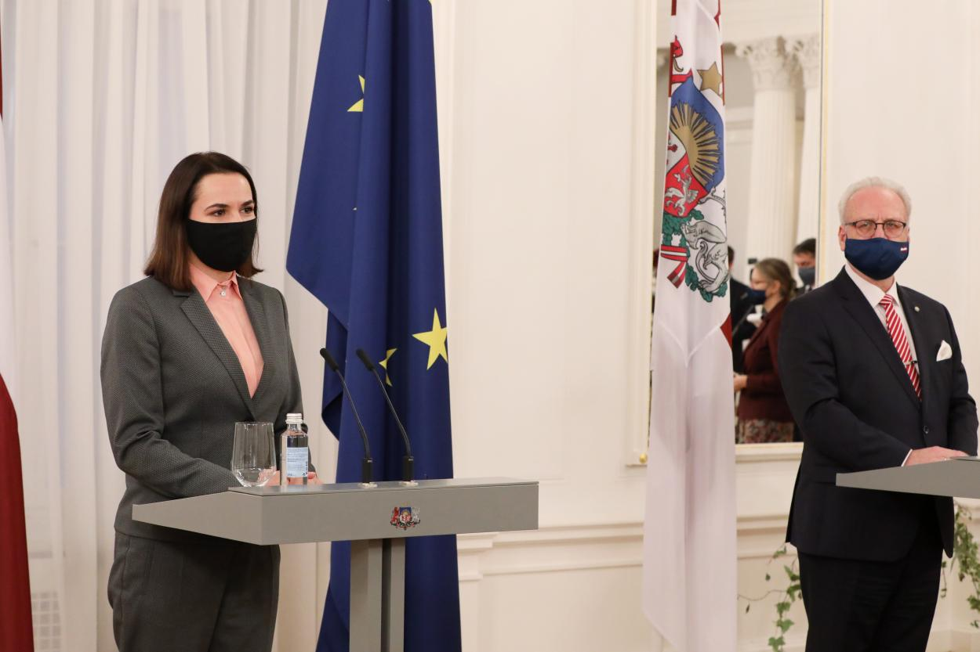 Cветлана Тихановская в Риге, ноябрь 2020.