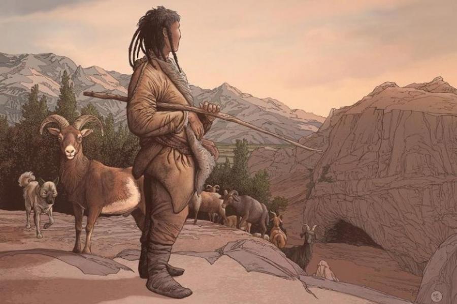 Художественная реконструкция скотовода, который проживал на Обишире около 8000 лет назад.