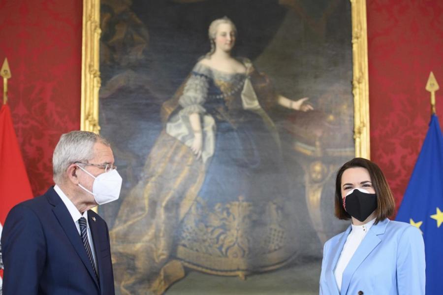 Тихановская и президент Австрии Александр Ван дер Беллен.