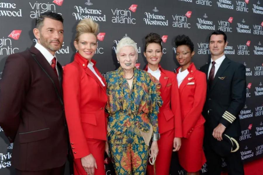 Вивьен Вествуд на презентации ее униформы для Virgin Atlantics, 2014