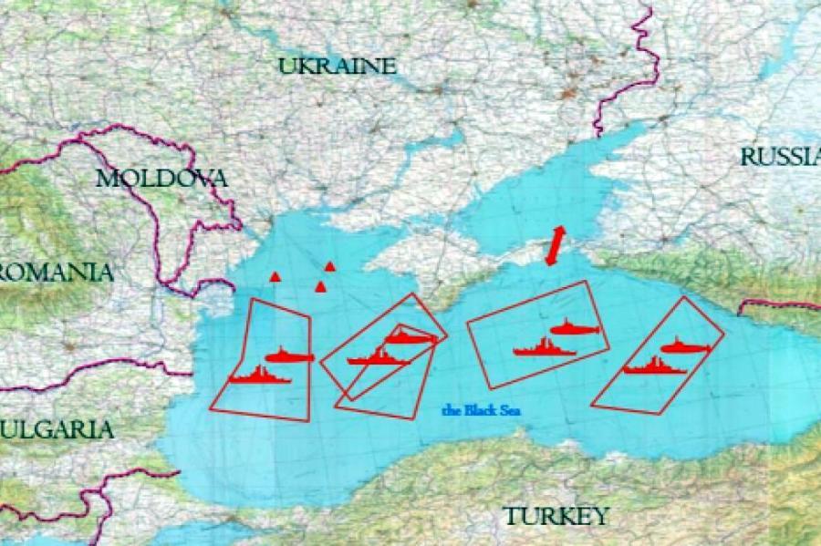 Зоны действия кораблей российского ВМФ по версии МИДа Украины.