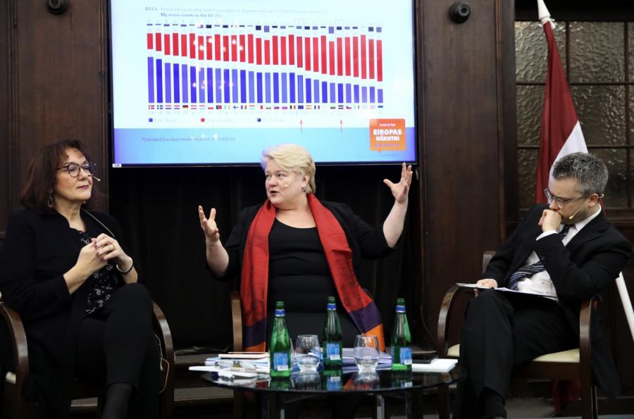 В. А. Терауда демонстрирует Д. Шуйце размер латвийской демократии.