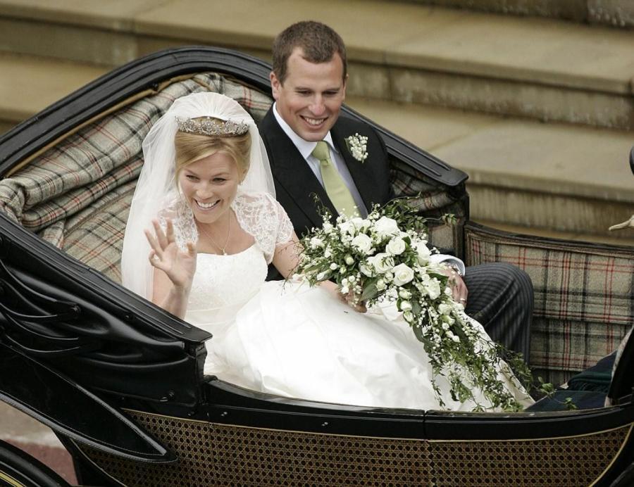 Сын принцессы Анны Питер Филлипс с женой Отэм Келли в день свадьбы