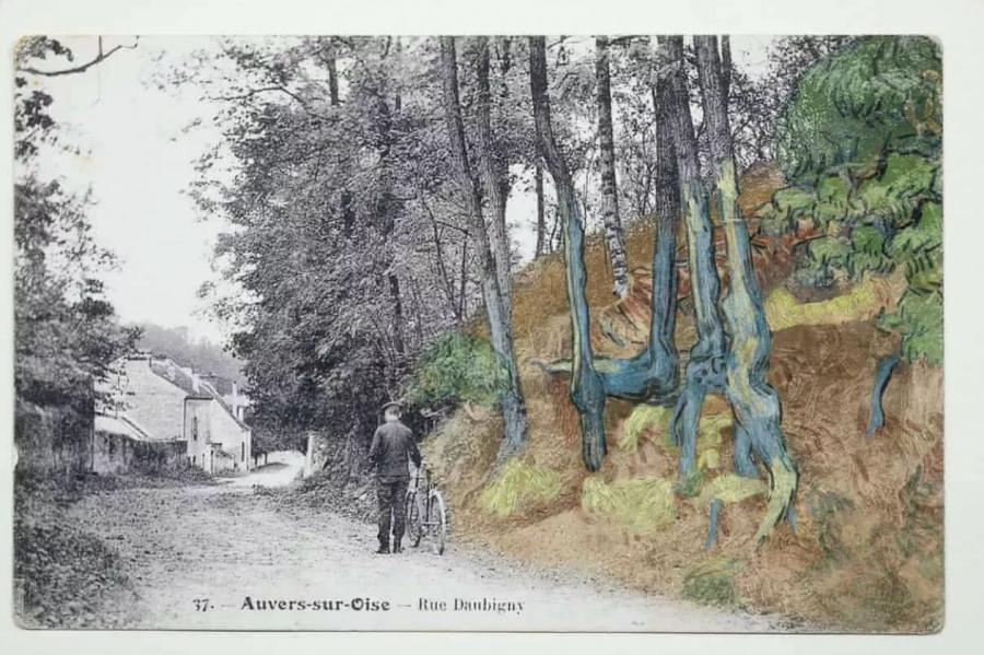 Открытка, на которой изображение деревьев имеет четкое сходство с формой корней на картине Ван Гога. Institut Van Gogh.