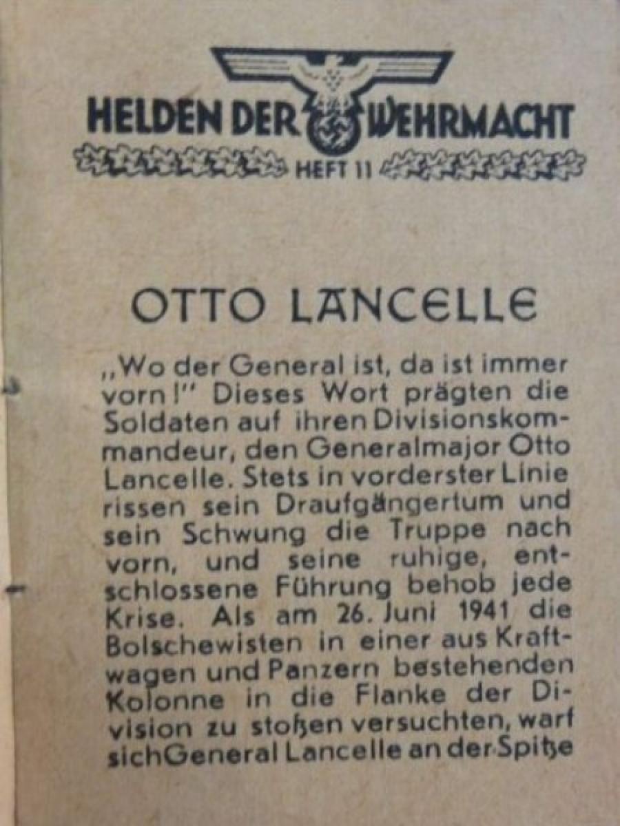 Страница из книги о генерал-лейтенанте Отто Ланселе (Ланцелле) из серии «Герои Вермахта», https://www.bunkermilitaria.com