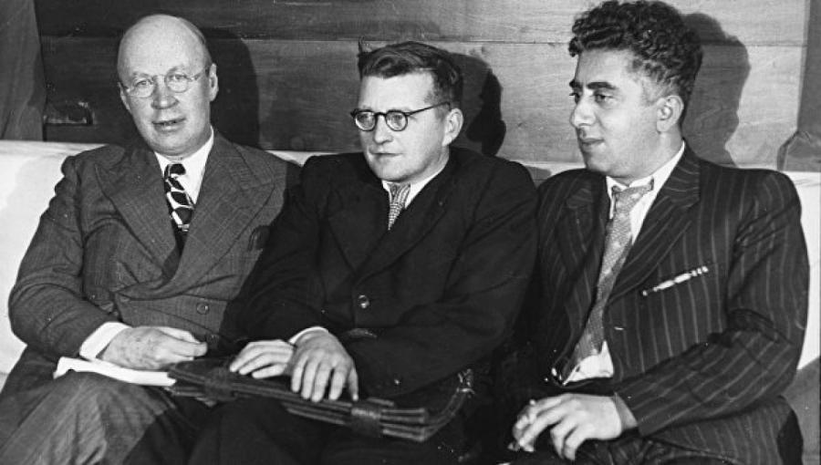 Композиторы Сергей Прокофьев, Дмитрий Шостакович и Арам Хачатурян (слева направо).